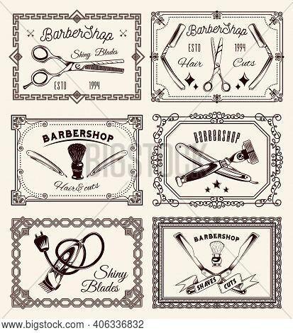 Barbershop Concept. Set Of Vintage Boards In Different Frames. Scissors, Razor Blades, Shaving Brush