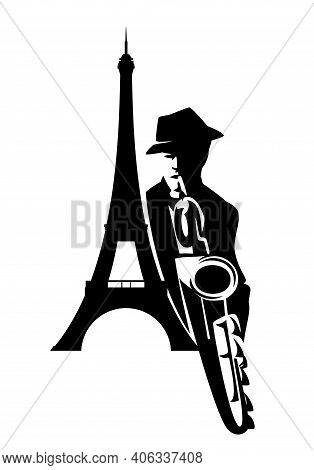 Jazz Man Playing Saxophone Instrument With Eiffel Tower Silhouette - Performing Musician Black And W