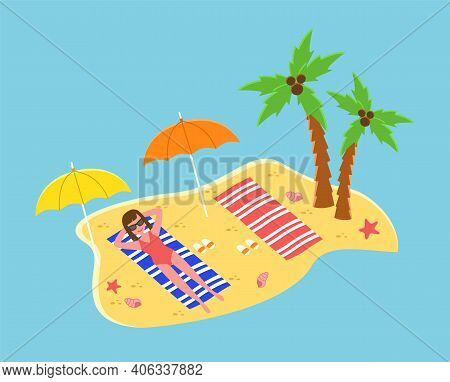 Tropical Landscape With Tanned Girl Sunbathing In Seashore, Enjoying Sun. Woman In Glasses And Swims
