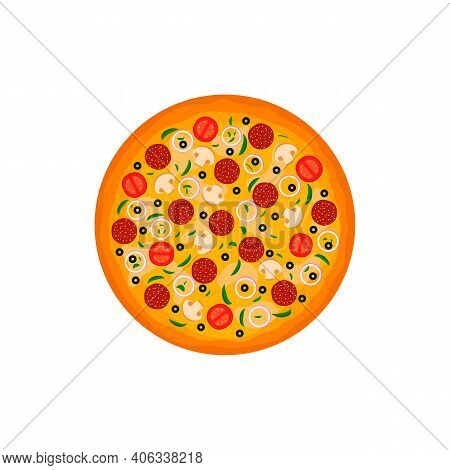 Pizza Top View White Background Vector Illustration