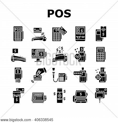Pos Terminal Device Collection Icons Set Vector. Pos Terminal For Accept Payment By Contact And Cont