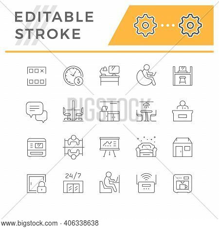 Set Line Icons Of Co-working Isolated On White. Reception Desk, Canteen Or Kitchen, Office Workplace