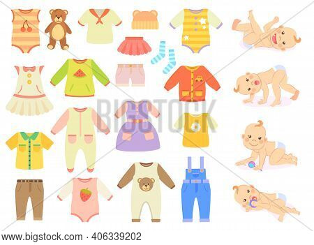 Vector Collection Of Baby And Children Clothes For Boys And Girls Isolated On White Background. Cute