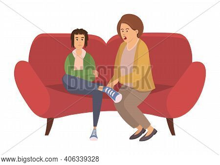Unhappy Family Portrait Vector Character Illustration. Mother And Her Son Teenager Sitting On The Co