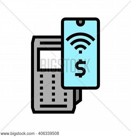 Smartphone Contactless Payment Pos Terminal Color Icon Vector. Smartphone Contactless Payment Pos Te