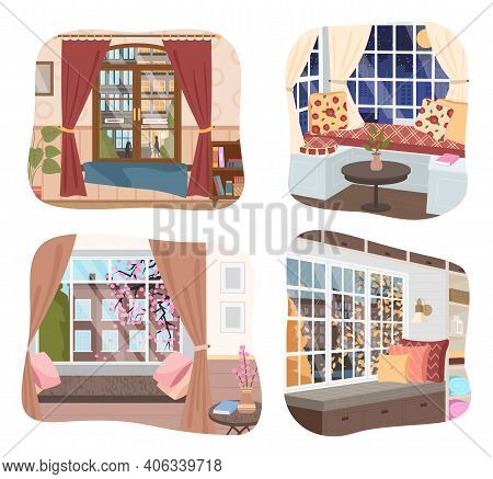 Interior Of Home, Collection Of Illustrations, Stylish Room With Couch And Pillows, Day Or Night Vie