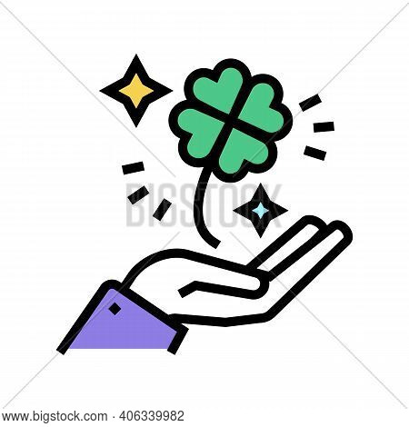 Clover For Luck Holding Hand Lotto Color Icon Vector. Clover For Luck Holding Hand Lotto Sign. Isola