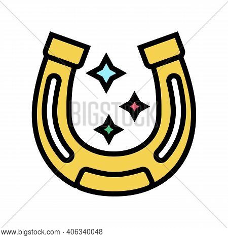 Lucky Horseshoe Lotto Color Icon Vector. Lucky Horseshoe Lotto Sign. Isolated Symbol Illustration