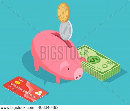 Means Of Payment, Money Savings. Concept Of Big Money. Big Pile Of Cash. Credit Bank Card, Moneybox,