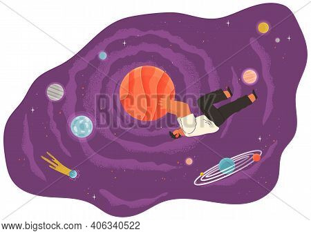 A Man Flying In Space Vector Flat Illustration With Planets And Stars Cartoon Cosmic Scene. Male Cha