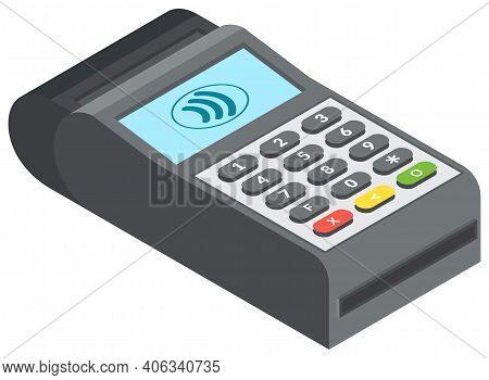 Single Payment Terminal For Retail Sale Service On White Background Isolated Vector Illustration. Ba