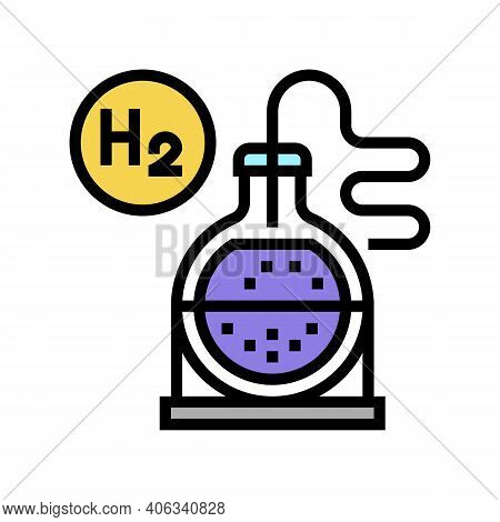Use In Synthesis Hydrogen Color Icon Vector. Use In Synthesis Hydrogen Sign. Isolated Symbol Illustr