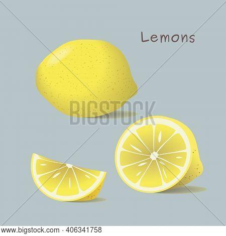 Drawing Of A Whole Lemon, Half A Lemon And A Lemon Slice.  Vector Illustration