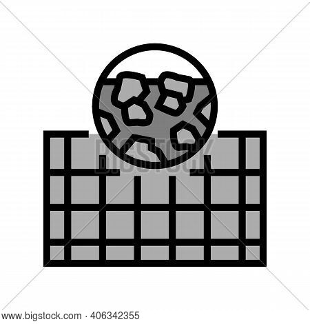 Foundation Stone Gravel Component Color Icon Vector. Foundation Stone Gravel Component Sign. Isolate