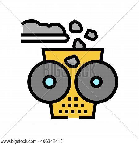 Crushing Stone Machine Color Icon Vector. Crushing Stone Machine Sign. Isolated Symbol Illustration