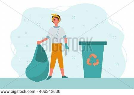 Recycling Girl Collects Waste. Waste Sorting, Sorting And Garbage Collection. Ecology, Cleaning The