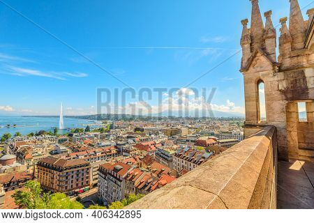 Geneva Skyline, Leman Lake, Jet Deau Fountain, Bay, Harbor And Tower Of Cathedral, French Swiss In S