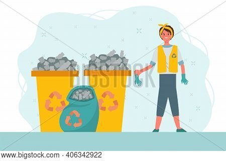 Sort Garbage People. Waste Recycling, Sorting And Garbage Collection. Ecology, Cleaning The Earth Fr