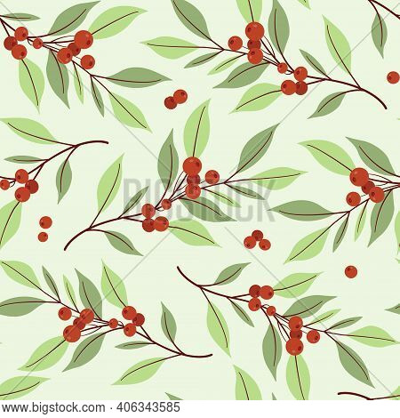 Cranberry Seamless Pattern. Foliate Branches With Red Berries. Berry Design For Wrapping Paper, Pack