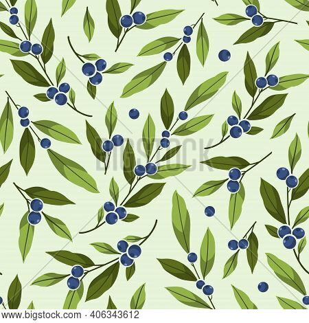Blueberry Seamless Pattern. Foliate Branches With Blue Berries. Berry Design For Wrapping Paper, Pac