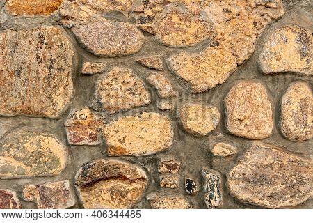 Cobblestone Pattern, Close-up Stone Wall, Cobblestone Masonry, Stone Background
