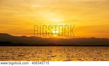Sunset Scene At Phayao Lake In A North Of Thailand.