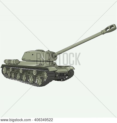 The Famous Soviet Heavy Tank Of The Second World War On A White Background.