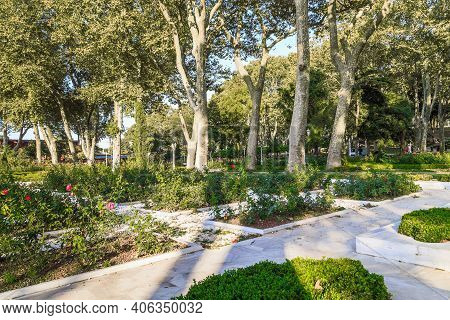 Istanbul, Turkey - September 13, 2017: These Are A Walkways Of The Old Gulhane Park In The Historic