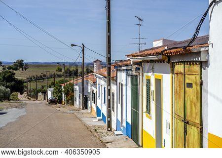 Traditional Houses In Rural Village Called Vila Fernando In Alentejo, Portugal