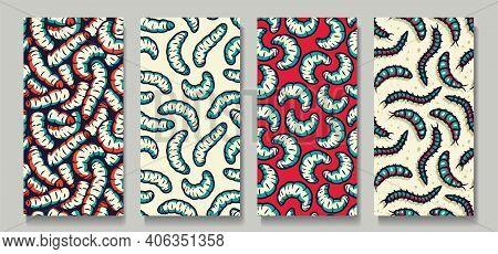 Set Of Worms, Maggots Zombie Seamless Pattern