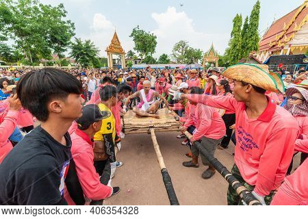 Chaiyaphum, Thailand - May 12, 2019: Parade Of Ancient Pre-ordination Of Buddhist Which Pre-monk On