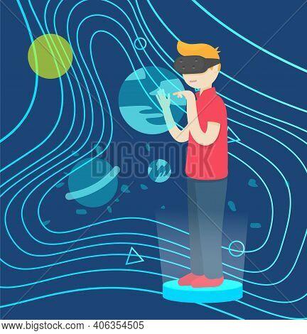 Vector Illustration Of Boy Wearing Virtual Reality Glasses Touching Virtual Interface. Future Distan