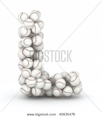 Letter L font of baseball balls on white background poster