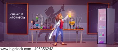 Chemical Laboratory Interior With Scientific Equipment, Glass Flasks, Tubes And Beakers, Blackboard