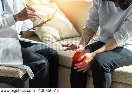 Arthritis Hand And Knee Pain, Joint Injury Or Osteoporosis Bone Disease Patient With Orthopedic Surg