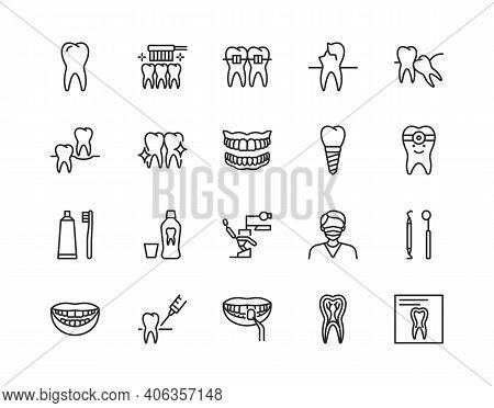 Dentistry Flat Line Icon Set. Vector Illustration Symbol For Dental Clinic Design. Included Orthodon