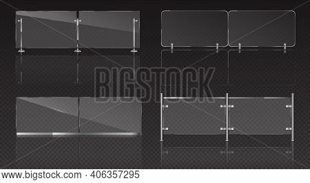 Glass Balustrade With Metal Banister For Balcony, Terrace Or Pool. Vector Realistic Set Of Plexiglas