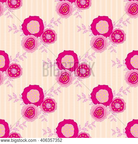 Set Of Vector Flowers And Leaves Seamless Pattern Pink Background. Trios Of Hand Drawn Scribble Styl
