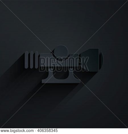 Paper Cut Sniper Optical Sight Icon Isolated On Black Background. Sniper Scope Crosshairs. Paper Art