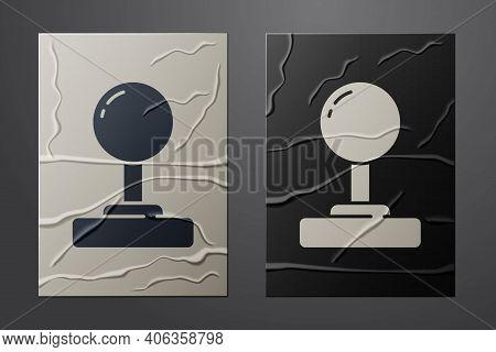 White Joystick For Arcade Machine Icon Isolated On Crumpled Paper Background. Joystick Gamepad. Pape