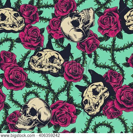 Colorful Tattoos Vintage Seamless Pattern With Cat And Human Skulls Roses And Green Elegant Decorati