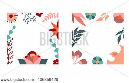 Collection Of Stock Floral Frames With Bird. Vector Decorative Square Frames With Stylised Flowers A