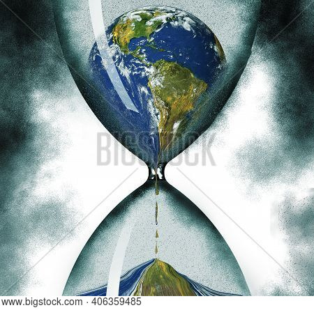 Time Running Out On The Ecology Of Planet Earth Is Illustrated With The Planet Draining Through An H