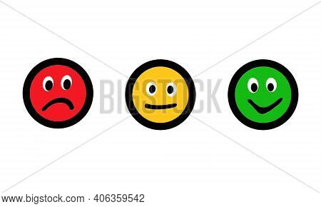 Feedback Concept Green Yellow Red Icon Isolated On White. Giving Feedback Rating & Review Happy, Neu