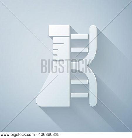 Paper Cut Dna Research, Search Icon Isolated On Grey Background. Genetic Engineering, Genetics Testi