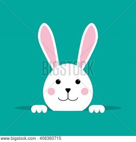 White Easter Rabbit. Easter Bunny. Happy Easter Bunny Vector Illustration. Cute Rabbit Cartoon Chara