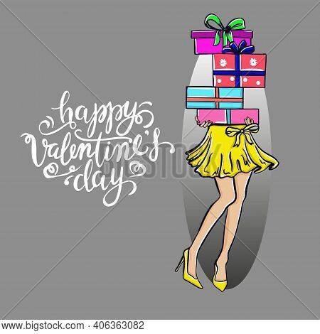 Elegant Girl Shopping Gifts Boxes Valentines Day Advertising Template Eps 10 Vector Royalty Free Ill