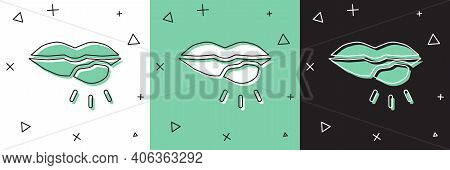 Set Herpes Lip Icon Isolated On White And Green, Black Background. Herpes Simplex Virus. Labial Infe