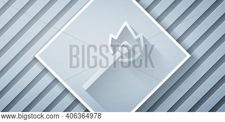 Paper Cut Burning Match With Fire Icon Isolated On Grey Background. Match With Fire. Matches Sign. P