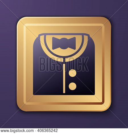 Purple Suit Icon Isolated On Purple Background. Tuxedo. Wedding Suits With Necktie. Gold Square Butt